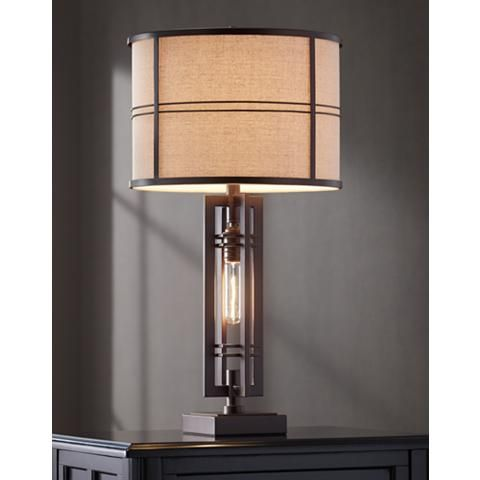 Elias Oil Rubbed Bronze Table Lamp With Night Light 32v47 Lamps Plus In 2021 Bronze Table Lamp Lamp Table Lamp