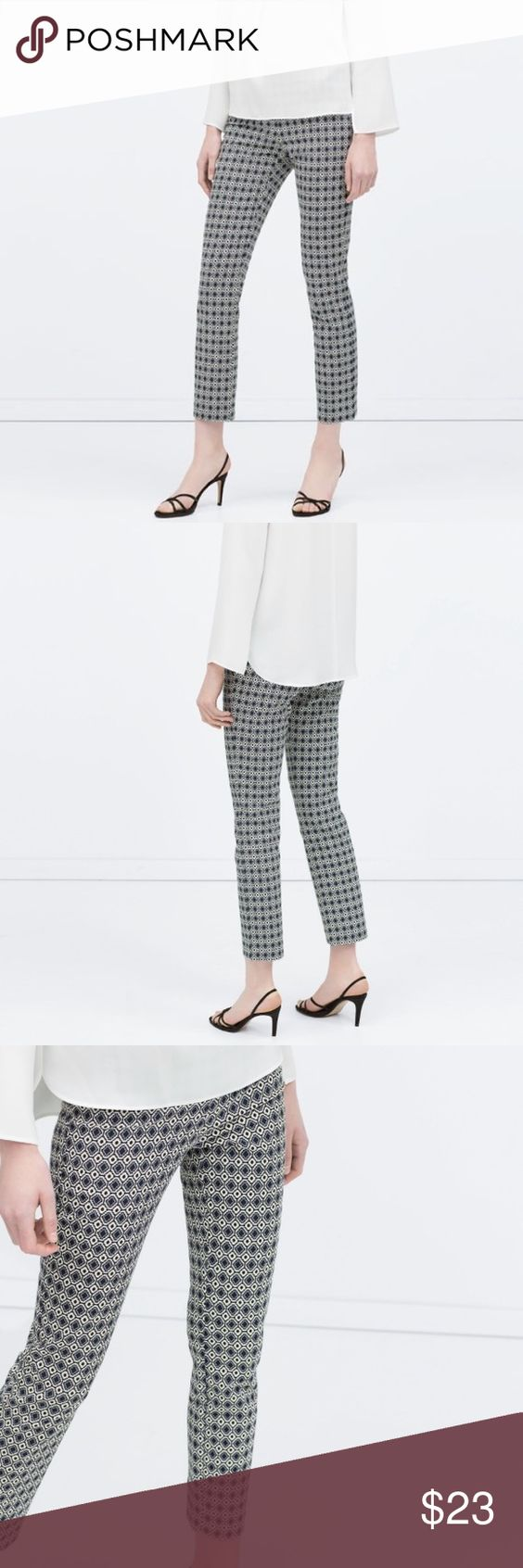 "ZARA GEOMETRIC JAQUARD LEGGING PANT #199 Zara Basic, geometrical pattern pant, straight leg. Size L CONDITION: EUC, No issues.  🎁 SHIPS WITHIN 24HRS  CHEST: WAIST: 32"" LENGTH: 37"" INSEAM: 36"" *All measurements taken while item is laid flat (doubled when necessary) and measured across the front  MATERIAL: Polyester, cotton, Elastane. STRETCH: no INSTAGRAM @ORNAMENTALSTONE 🚫Trading Zara Pants"
