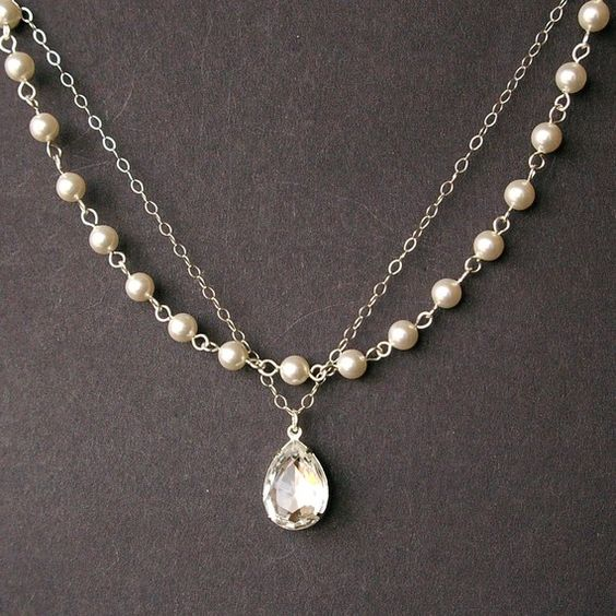 Crystal And Pearl Bridal Necklace Vintage Style Bridal Jewelry Ivory Pearl Wedding Necklace