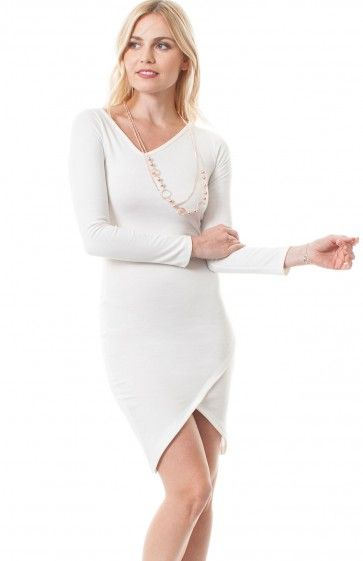 V-neck long sleeve knee length bodycon dress featuring tulip front skirt, asymmetrical neckline, and detachable draped necklace. Beautiful dress, already accessorized, to wear on a date.  $11.95