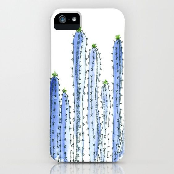 Buy Blue Cactus Watercolor Illustration iPhone Case by laurabethlove. Worldwide shipping available at Society6.com. Just one of millions of high quality products available.