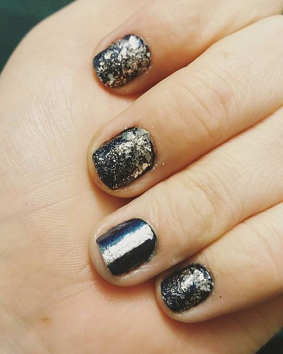Starry nails 🌌🌠☄🌟 . . Bell-Bottom Blues by Essie Diamond in The Rough by China Glaze Tiara by ORLY Silver Plated by Salon Perfect