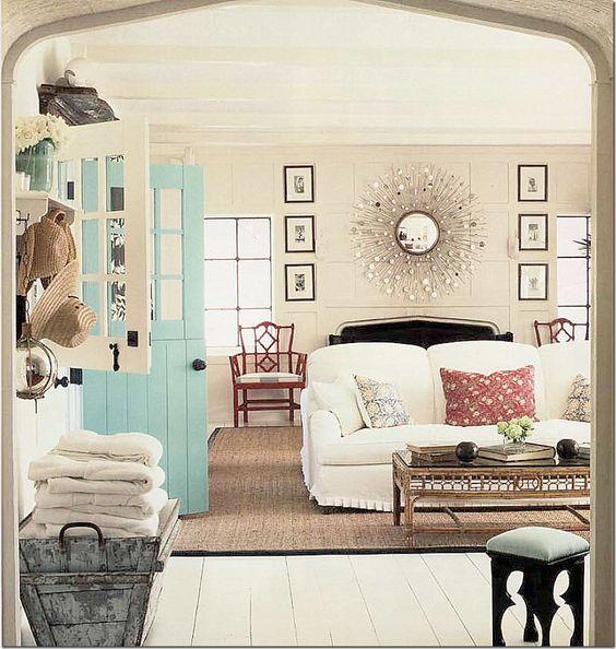 dutch door - aqua door; arched wall Designer:Windsor Smith