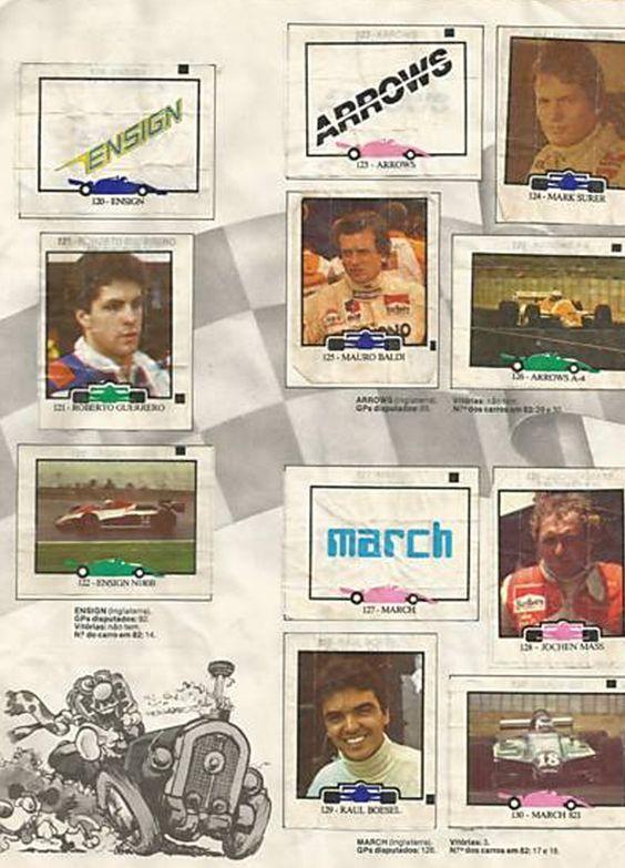 Fórmula 1 - 1982 - Figurinhas do Chiclete Ping - Pong