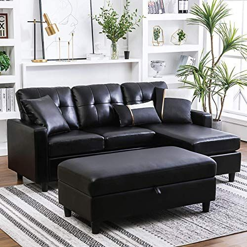 New Honbay Convertible Sectional Sofa Ottoman L Shape Sleeper Sofa Ottoman Faux Leather Couch Set Chaise Black Online Shopping Alltopratedseller In 2020 Leather Couches Living Room Faux Leather Couch Couch Set