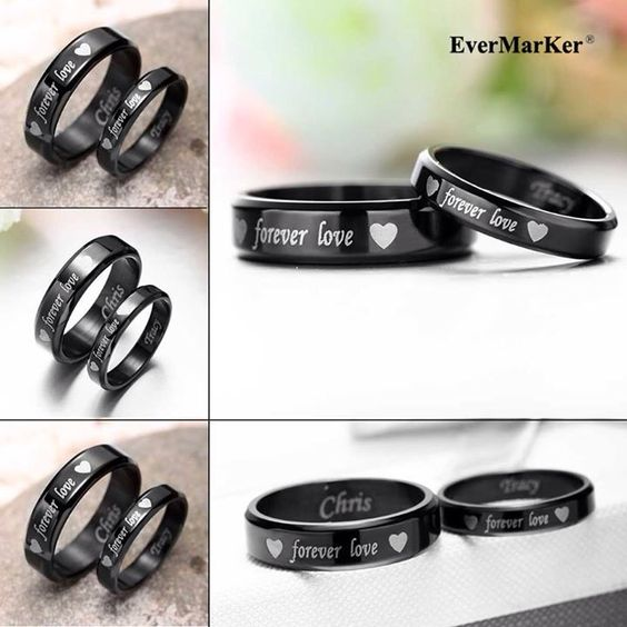 #EverMarker Simple but romantic black titanium rings for lovers