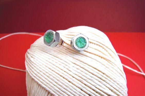 orecchini con bullone dado e brillantini verde menta / earrings : Orecchini di elenalucc