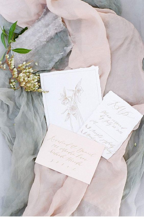 Beautiful fine art wedding invitation by Paula Lee Calligraphy. Photographer Tamara Gruner.