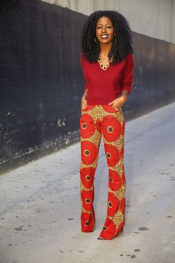 www.cewax.fr aime ces photos Mode femme afro tendance, style ethnique, tissus africains: wax, ankara, kente, kitenge, bogolan... African Fashion, ethno tendance, African Prints, African clothing - african print trousers