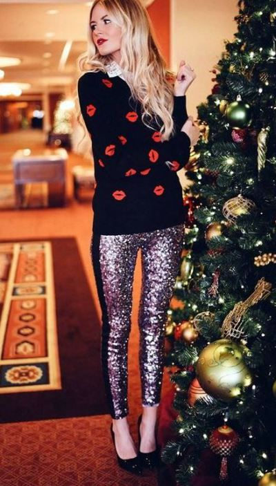 This sweater paired with these sequin leggings are perfect: