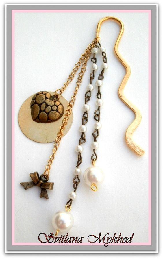 """Marque pages """"Cœur dore"""" . Métal bronzé et doré . Création unique : Marque-pages par perles-et-couronnes"""