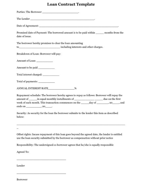 simple interest loan agreement template – Contract of Loan Sample