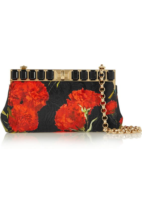 DOLCE & GABBANA Embellished floral-brocade shoulder bag $1950 (Compare Elsewhere $2200) SHIPS FREE BEST PRICES YOU WILL FIND ANYWHERE ON GENUINE LADIES DESIGNER BRANDS! FREE WORLD SHIPPING & LOCAL DELIVERY AVAILABLE AT THE SURF CITY SHOP in Huntington Beach, California Major Credit Cards Accepted
