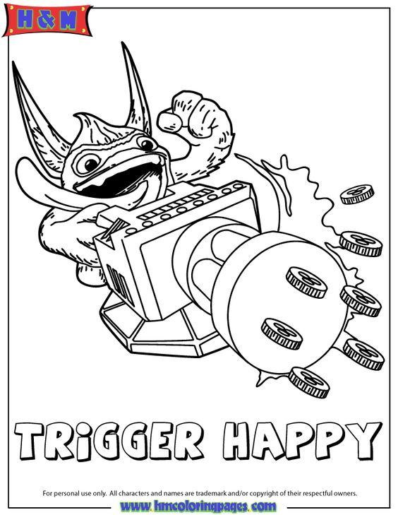 Skylanders Trigger Happy And Coloring Book Pages On Pinterest