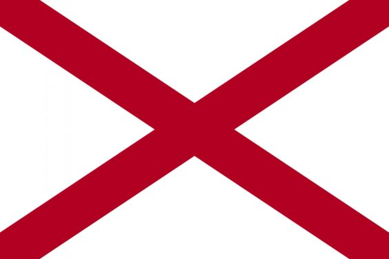 "Someone gave the state of Alabama a box to check with the question ""DO YOU WANT TO CREATE A FLAG"" and this was the response. That or Alabama is unable to write its name and has to sign everything with a big red X. In general, it is a poor idea to pick as your flag an image that could be regarded as a negative answer to the question, ""Should you visit Alabama?"""