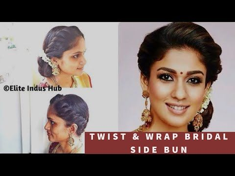 Bridal Bun With Flowers Gajra Hairstyle For Wedding Hair Bun With Flower Hallie Wedding Blo Bridal Side Bun Indian Bridal Hairstyles Nayanthara Hairstyle