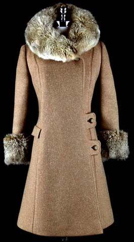 60s taupe wool fur collar princess coat jacket