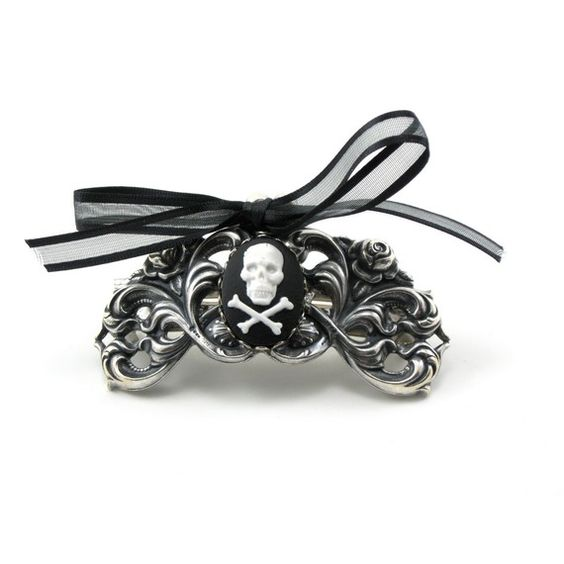 haloween accessory?! Gothic Lolita French Clip with Skull and Crossbones Cameo Accent - By GhostLove: Hair Ideas, Bridesmaid Hair, Wedding Ideas, Skulls Wedding, 00 Gothic, Accessory Gothic, Skulls Galore