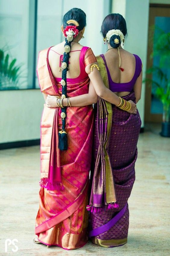 getting ready for wedding.. south indian wedding hair accessories pattu saree, | Violet and Golden Saree | Pink Bridal South Indian Saree | Mom and Bride Picture Ideas | Cute Bride and Mother Photo Ideas | Indian Wedding | Indian Brides | Function Mania | You Have to See These Picture-Perfect Mother & Bride Moments!