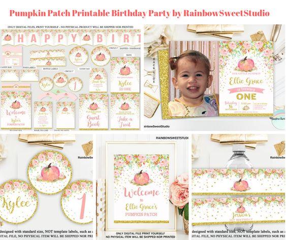 Pumpkin Patch Printable Birthday Party by RainbowSweetStudio