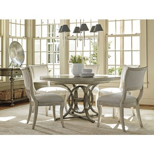 Lexington Oyster Bay 5 Piece Calerton Round Dining Set Upholstered Dining Chairs Minimalist Dining Room Casual Dining Rooms