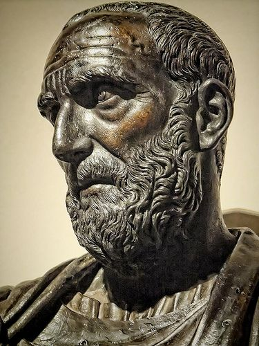 Closeup of a Bust of Lucius Junius Brutus one of the first co-consuls of the Roman Republic by Ludovico Lombardo 1550 CE Bronze | by mharrsch