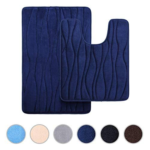 Buganda Memory Foam 2 Pieces Bath Rugs Set Soft Non Slip Thick