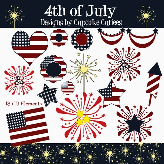 4th of july cliparts