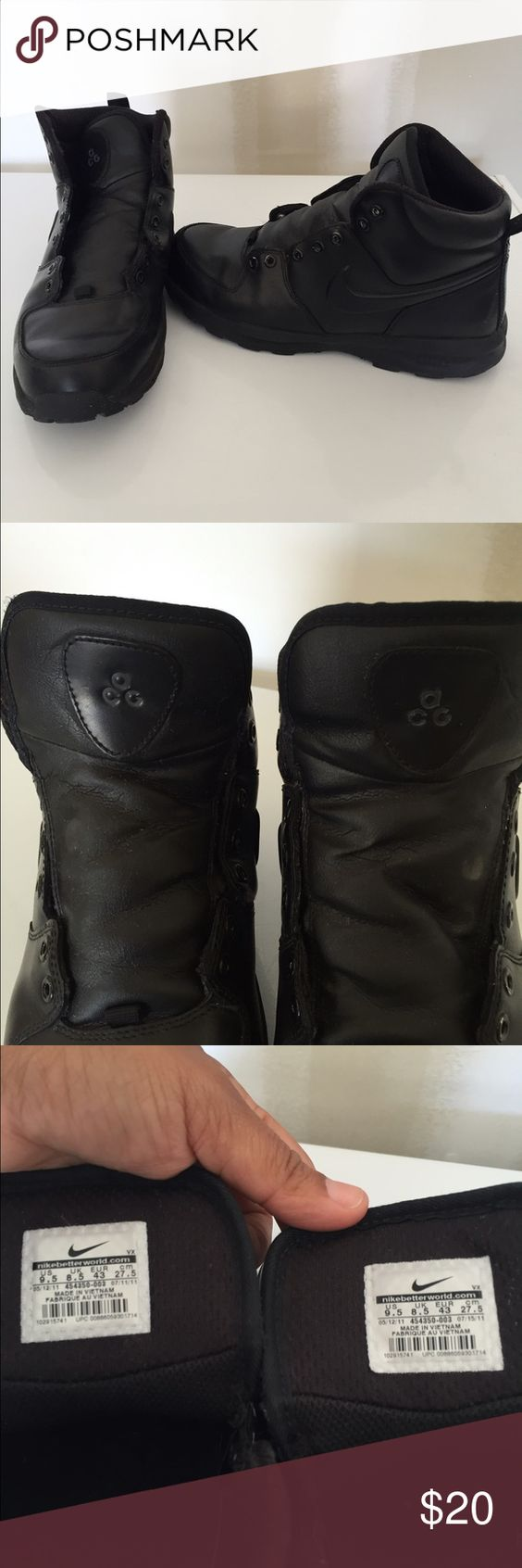 Black ACG work boots Men 9.5 Black ACG work boots for men size 9.5. They are in great shape. Just need new laces. Nike Shoes Boots