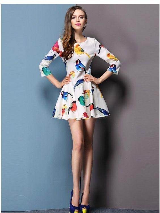 Vestido Estampa de Pássaros - Vitta Luna