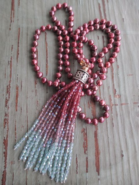 Freshwater pearl tassel necklace Pink Passion by slashKnots