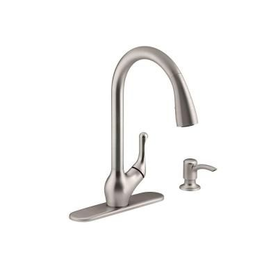 Kohler Barossa Single Handle Pull Down Kitchen Faucet In Vibrant Stainless With Soap Lotion