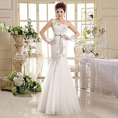 Trumpet+/+Mermaid+Wedding+Dress+Floor-length+One+Shoulder+Organza+with+Appliques+/+Beading+/+Sash+/+Ribbon+–+USD+$+89.99