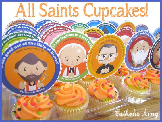 Would you like to make the cutest (and easiest) All Saints' Day cupcakes ever? [Or attach to cookies with icing. Or tape to a small bag for a goodies bag. Or tape on craft sticks or straws to use as stick puppets. Lacy Rabideau from Catholic Icing used them for cupcake toppers and plastic treat buckets.--vlg 141018-2137]