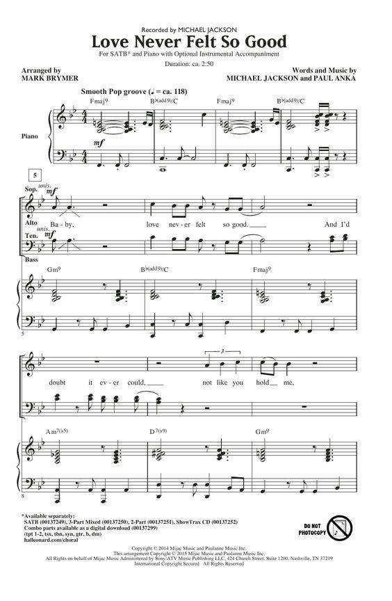 Michael Jackson: Love Never Felt So Good (arr. Mark Brymer) - Partition Chorale SATB - Plus de 70.000 partitions à imprimer !