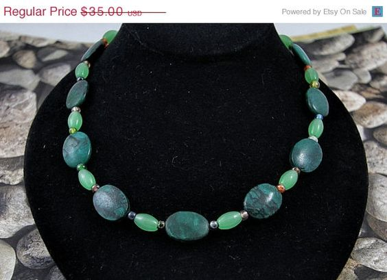 FALL SALE Turquoise and Jade Jewelry Set by soyon on Etsy