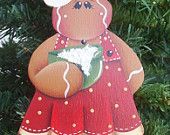 Wooden Hand Painted Christmas Thyme Cookies ,Gingerbread Ornament. $8.00, via Etsy.