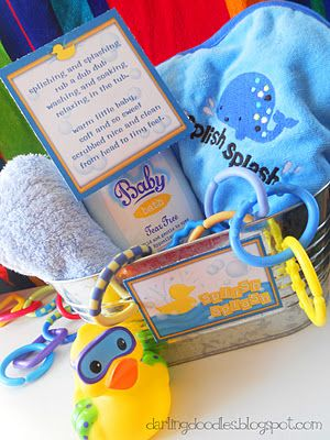 Splish Splash Baby Shower Gift Basket with cute Printable Tag & Poem: Giftbasket, Shower Gift, Baby Gift, Baby Shower
