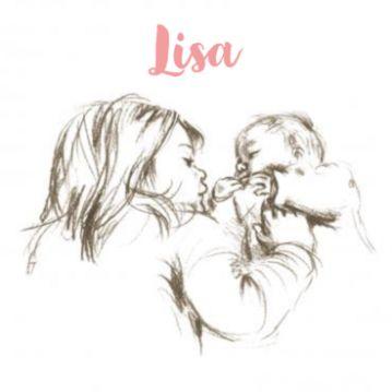 Geboortekaartje tekening grote zus met baby meisje