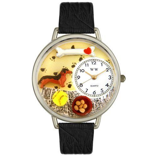Whimsical Watches Unisex U0130034 Dachshund Black Skin Leather Watch Whimsical Watches. $40.99. Black skin Italian leather strap. Perfect for gifts and occasions!. Precise, high-quality Japanese-quartz movement. Silver-tone stainless steel case; case diameter: 42 mm. Dachshund theme dial. Save 32%!