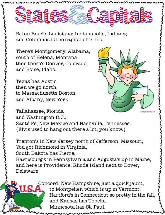 U.S. States & Capitals - printable to accompany the Anamaniac's States & Capitals Song