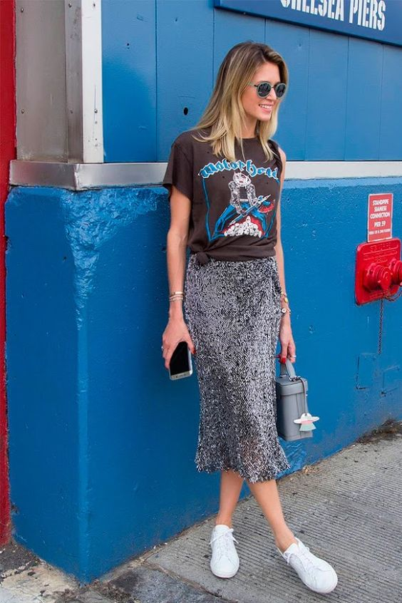 Midi skirt, concert tee, white sneakers, street chic, NYC style, off duty model, street style 2017: