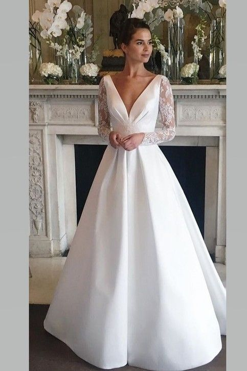Deep V Neckline Satin Wedding Gown With Sheer Lace Sleeves In 2020 Wedding Dress Long Sleeve Wedding Dresses Wedding Dress Sleeves