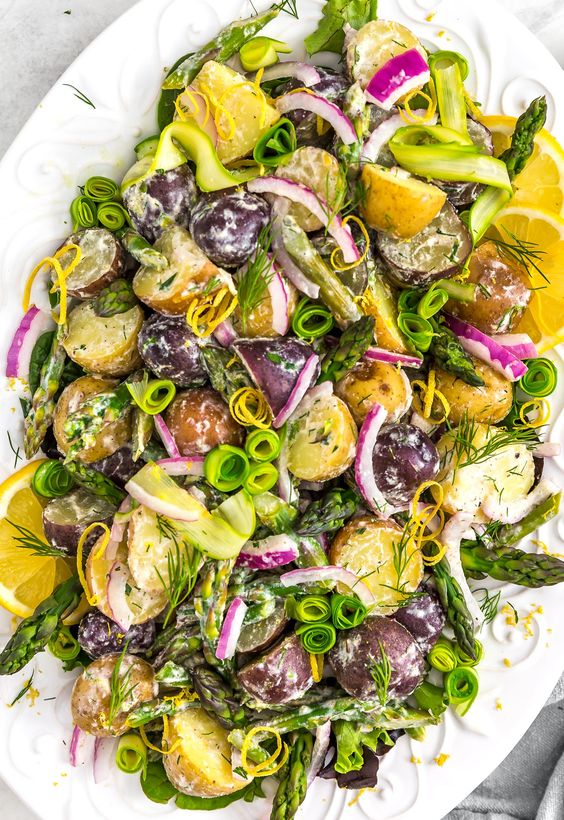 Lemon Herb Asparagus Potato Salad