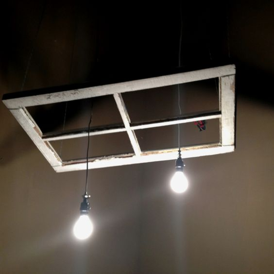 Diy Old Window Made Into Light Fixture And Suspended From