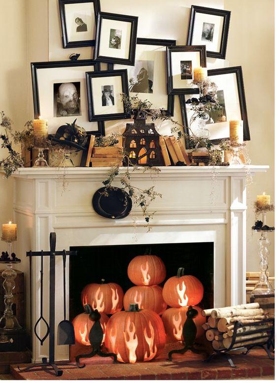 """Halloween Mantel, love the pumpkin """"fire""""."""