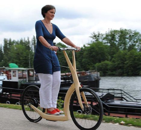 Streamlined Bamboo Scooter Bike Zips Around With Hidden Electric Motor…