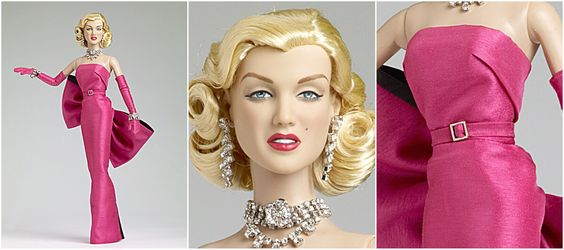 MARILYN MONROE DIAMONDS   This outfit is from the scene in the 1953 movie, 'Gentlemen Prefer Blondes' when Marilyn sang 'Diamonds are a Girl's Best Friend.' Her costume includes a long slinky peony dress with a back bow with black trim and slit in skirt, matching peony gloves and belt, a rhinestone necklace, a black ribbon bracelet with rhinestones, three rhinestone bracelets, rhinestone earrings, matching high heel peony shoes, and nude pantyhose. Limited edition of 1000 pieces. (2012)…
