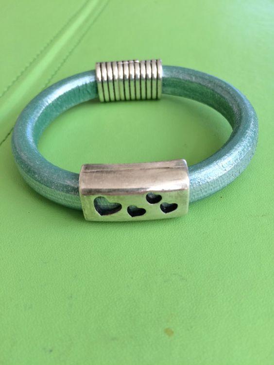 Silver Heart Slide and Leather Bracelet by joytoyou41 on Etsy