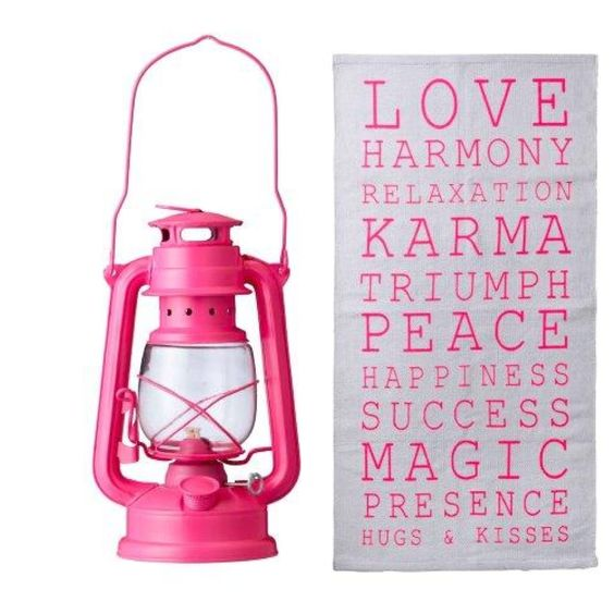 Bloomingville neon lantern and cotton rug with neon pink print ❤ www.bloomingville.com